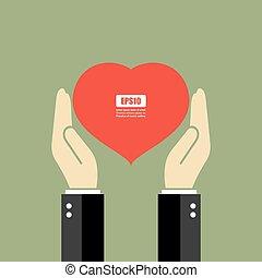 coração, mãos, segurando, cartaz