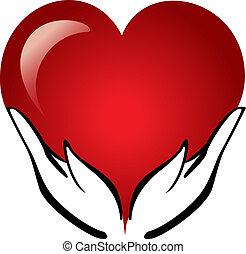coração, mãos, segurando, logotipo