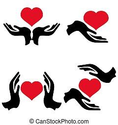 coração, mãos, ter, ícones