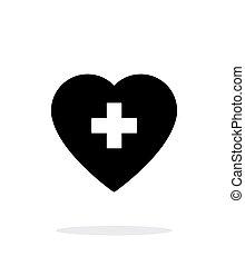 coração, médico, crucifixos, experiência., branca, ícone