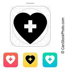 coração, médico, crucifixos, icon.
