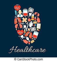 Coração, médico, cuidados de saúde, cartaz, ícones