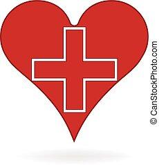 coração, médico, vetorial, logotipo