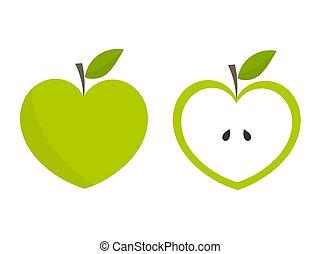 coração, maçãs verdes, dado forma