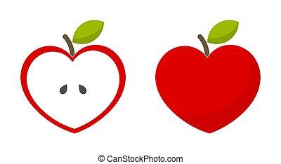 coração, maçãs, vermelho, dado forma