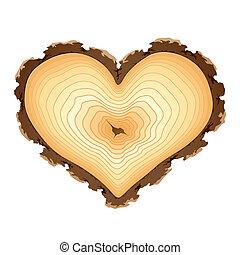 coração, madeira, forma