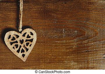 Coração, madeira,  -,  Valentine, fundo, Dia