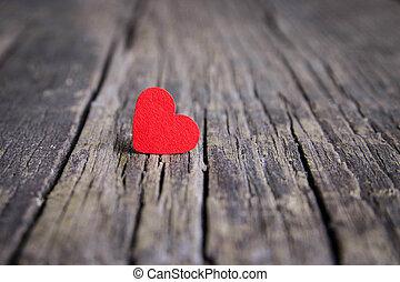 Coração, madeira,  valentines, Dia, fundo, vermelho