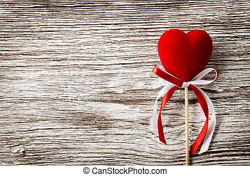 Coração, madeira,  valentines, fundo, vermelho, Dia, cartão