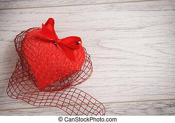 Coração, madeira,  valentines, fundo, fundo, Dia, vermelho