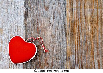 Coração, madeira,  valentines,  -, fundo, Dia