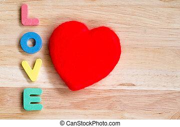 Coração, madeira,  valentines, fundo, Dia, vermelho