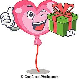 coração, mascote, ballon, presente, caricatura