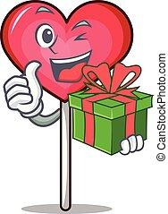 coração, mascote, pirulito, presente, caricatura