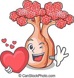 coração, mascote, planalto, árvores, garrafa