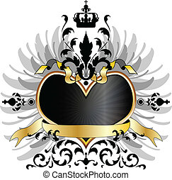 coração, medieval, braços