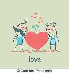 coração, melodia, sujeito, menina, escutar