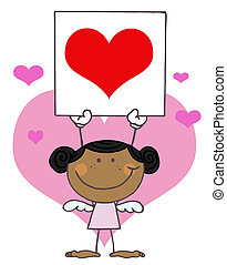coração, menina, pretas, segurando, cupid