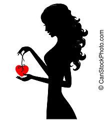 coração, menina, silueta