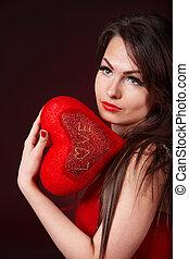 Coração, menina, vermelho, fundo