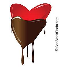 coração, mergulhado, chocolate