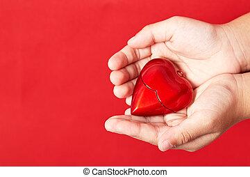 coração, meu, seu, mãos