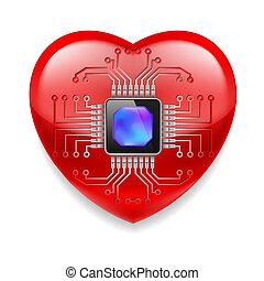 coração, microchip, vermelho
