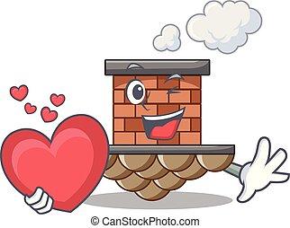 coração, miniatura, acima, tabela, tijolo, caricatura, chaminé