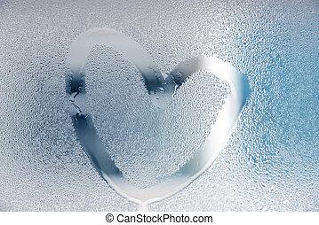 coração, molhados, desenhado, vidro