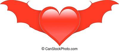 coração, morcego, vermelho