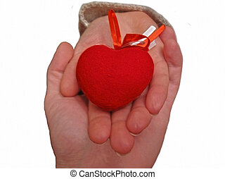 Coração, mulher, Ajuda, mão, homens, ter,  Valentine