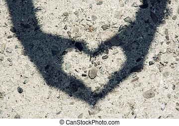 coração, mulher, dela, jovem, mãos, sombra, faz