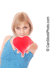 coração, mulher, dia, segurando, valentines