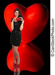 Coração, mulher, Dia,  valentines