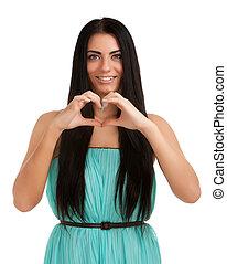 coração, mulher, formando, jovem, forma, mãos