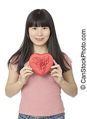 coração, mulher, fundo, isolado, asiático, segurando, branco vermelho