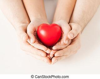 coração, mulher, homem, mãos