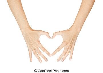 Coração, mulher, isolado, sinal, fundo, fazer, branca, mão