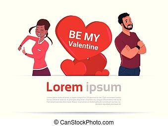 coração, mulher, par, espaço, sobre, valentines, forma, modelo, homem, cópia, bandeira, dia, feliz