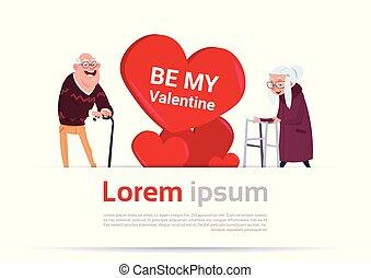 coração, mulher, par, espaço, sobre, valentines, idoso, forma, modelo, homem, sênior, cópia, bandeira, dia, feliz