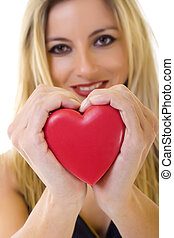 coração, mulher segura, vermelho