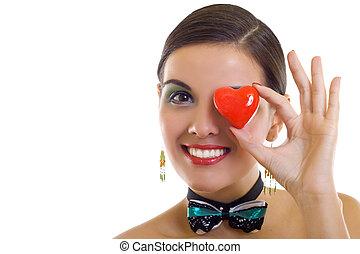 Coração, mulher, segurando, vermelho