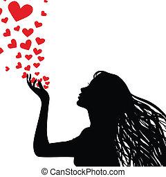 coração, mulher, silueta, soprando