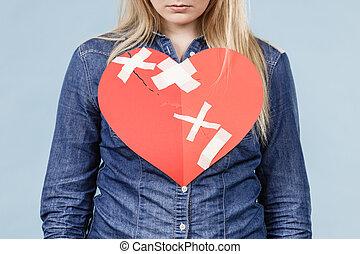 coração, mulher, unrecognizable, quebrada