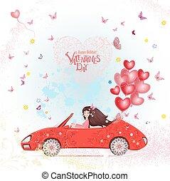 coração, mulher, va, car, jovem, ar, balloons., vermelho, feliz