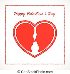 coração, mulher, valentines, símbolo., rosto, shape.wedding, homem, dia, vermelho, concept.happy