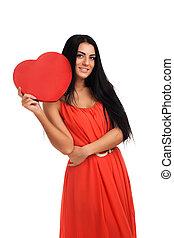 Coração, mulher,  valentines, sinal, segurando, Dia