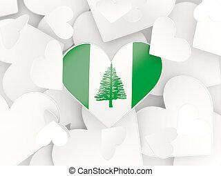 Coração,  norfolk, ilha, Dado forma, bandeira, adesivos