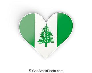Coração,  norfolk, ilha, Dado forma, adesivo, bandeira