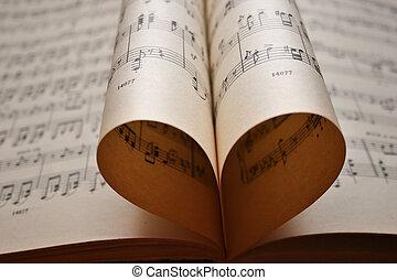 coração, notas, música